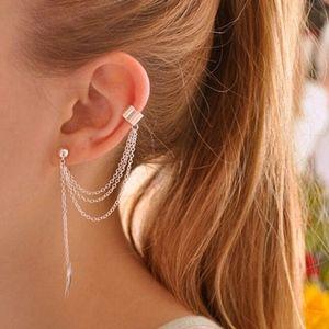 SOON Boho Silver Tassel Chain Ear Cuff Leaf Studs
